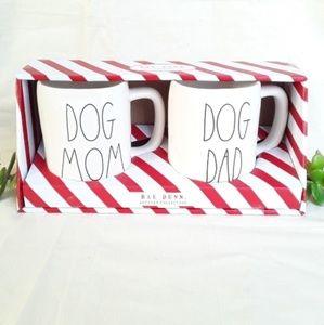 NWT Rae Dunn DOG MOM & DOG DAD mug set